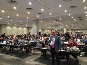 Libin inside Clinton's Press Filing Center.